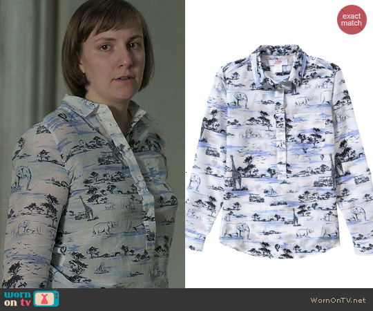 Joe Fresh Safari Print Popover Blouse worn by Lena Dunham on Girls
