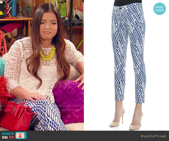 Joe's Jeans Geometric Print High Water Skinny Jeans worn by Jasmine Kang on IDDI