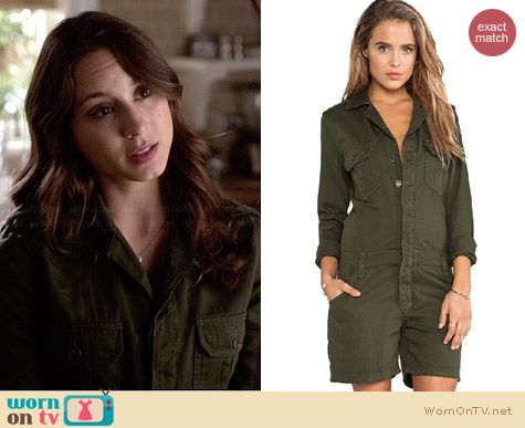 Joe's Jeans Military Shirttail Romper worn by Troian Bellisario on PLL