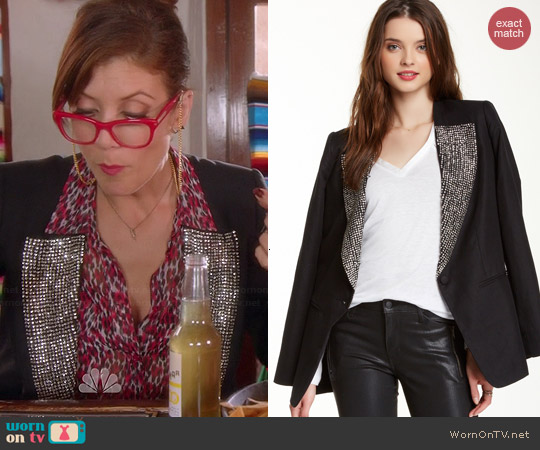 Joe's Jeans Rhinestone Lapel Blazer worn by Kate Walsh on Bad Judge