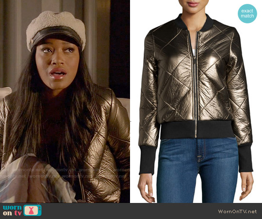 John & Jenn Metallic Quilted Faux-Leather Zip-Front Jacket worn by Keke Palmer on Scream Queens