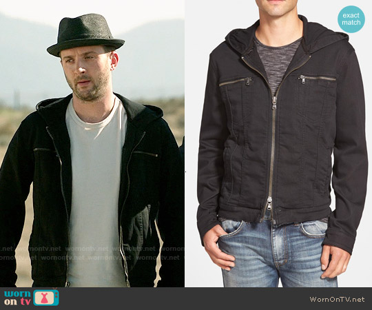 John Varvatos Star USA Hooded Denim Jacket worn by Eddie Kaye Thomas on Scorpion