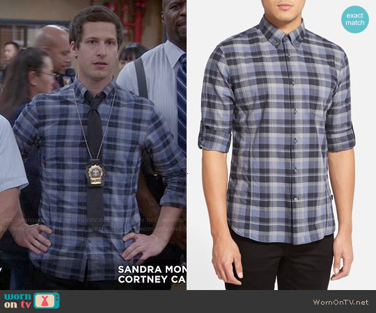 John Varvatos Plaid Sport Shirt in Office Blue worn by Andy Samberg on Brooklyn Nine-Nine