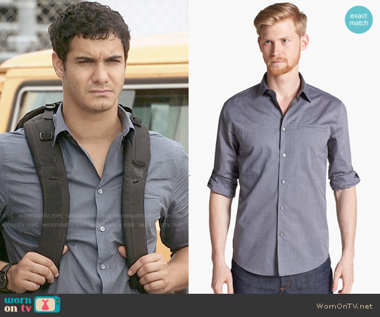 John Varvatos Collection Slim Fit Cotton Woven Sport Shirt in Thunder worn by Elyes Gabel on Scorpion