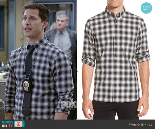 John Varvatos Check Sport Shirt worn by Andy Samberg on Brooklyn Nine-Nine