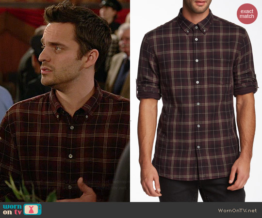 John Varvatos Roll Up Sleeve Shirt in Garnet worn by Jake Johnson on New Girl