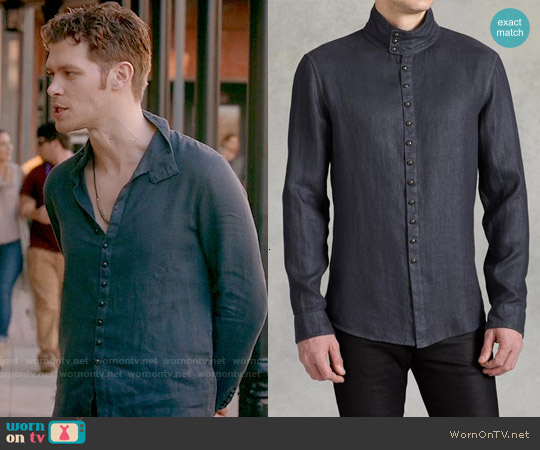 John Varvatos Multi Button Shirt with Asymmetric Closure worn by Joseph Morgan on The Originals