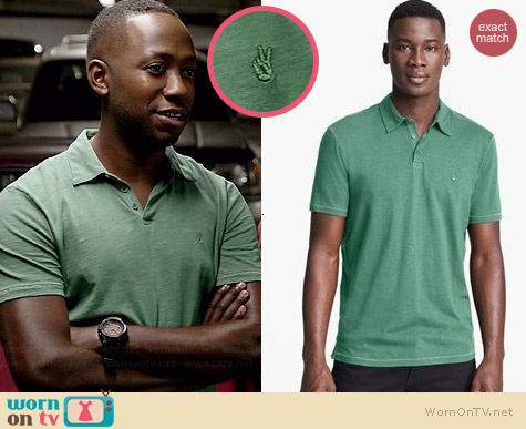 John Varvatos Peace Polo in Cool Green worn by Lamorne Morris on New Girl