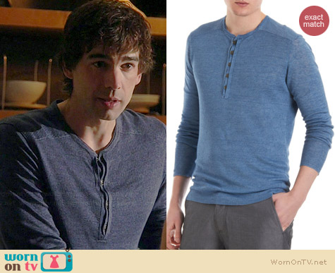 John Varvatos Ribbed Henley worn by Christopher Gorham on Covert Affairs