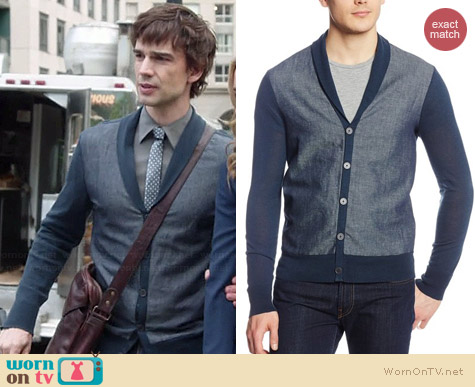 John Varvatos Shawl Collar Cardigan worn by Christopher Gorham on Covert Affairs