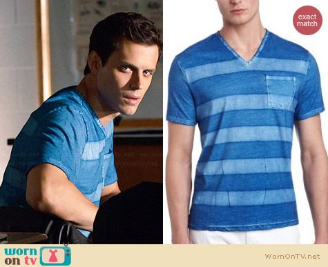John Varvatos Striped V-neck Pocket Tee worn by Jake Robinson on The Leftovers