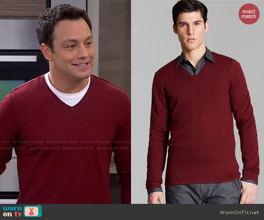 John Varvatos V-neck Sweater worn by Jonathan Sadowski on Young & Hungry