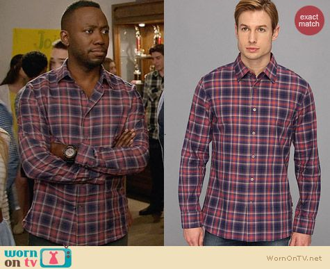 John Varvatos Violot Plaid Shirt worn by Lamorne Morris on New Girl