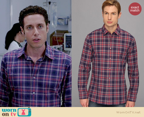 John Varvatos Plaid Sport Shirt in Violet worn by Paulo Costanzo on Royal Pains