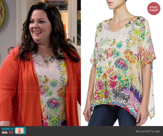 Johnny Was Dreamer Floral-Print Georgette Top worn by Melissa McCarthy on Mike & Molly