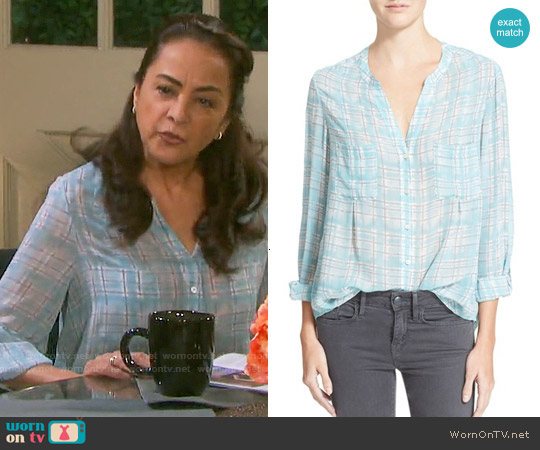 Joie 'Bonilla' Plaid Silk Blouse in Clearwater worn by Alma Delfina on Days of our Lives