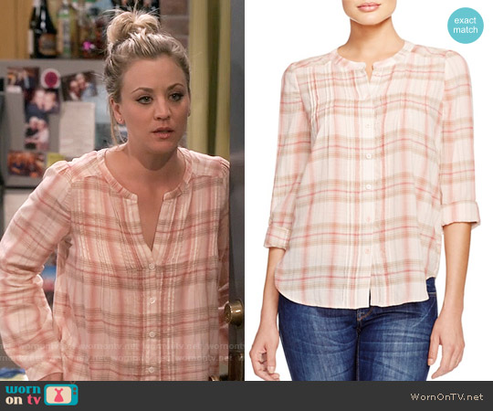 Joie Thulite Plaid Pintuck Shirt worn by Kaley Cuoco on The Big Bang Theory