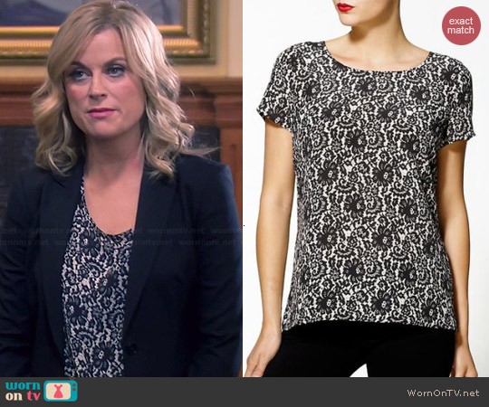 Joie Abelina Lace Print Blouse worn by Amy Poehler on Parks & Rec
