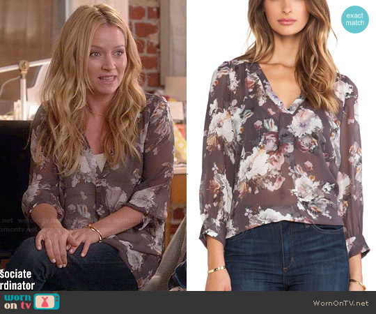 Joie Aceline Blouse in Charcoal worn by Becki Newton on Weird Loners