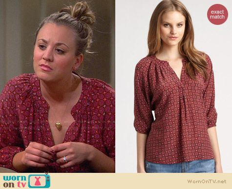 Joie Addie B Fuchsia Blouse worn by Kaley Cuoco on The Big Bang Theory