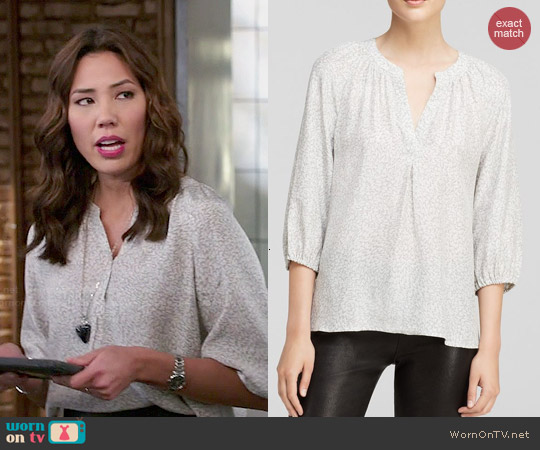 Joie Addie B Feather Print Blouse worn by Michaela Conlin on Bones
