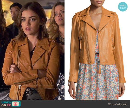 Joie Ailey Paper-Weight Leather Moto Jacket worn by Lucy Hale on PLL
