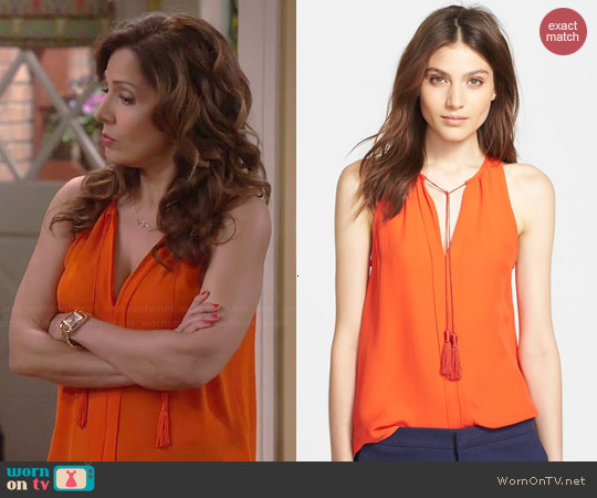 Joie Airlan Tank in Spicy Orange worn by Maria Canals-Barrera on Cristela