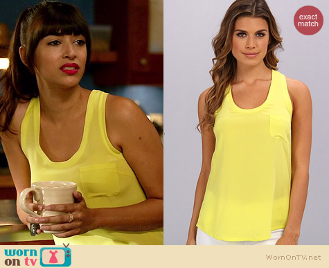 Joie Alicia Tank in Citrine worn by Hannah Simone on New Girl