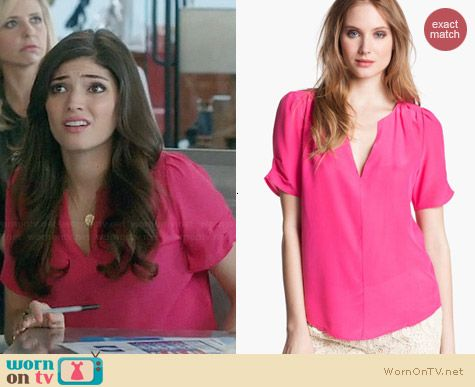 Joie Amone Blouse in Bright Fuchsia worn by Amanda Setton on The Crazy Ones