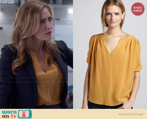 Joie Amone Blouse in Yellow worn by Sasha Alexander on Rizzoli & Isles