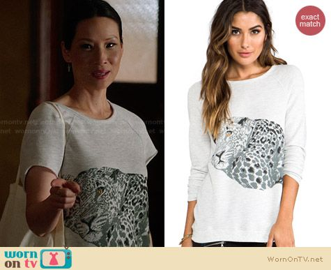 Joie Annora Leopard Sweatshirt worn by Lucy Liu on Elementary