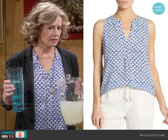 Joie Aruna Elephant Print Silk Tank worn by Nancy Travis on Last Man Standing