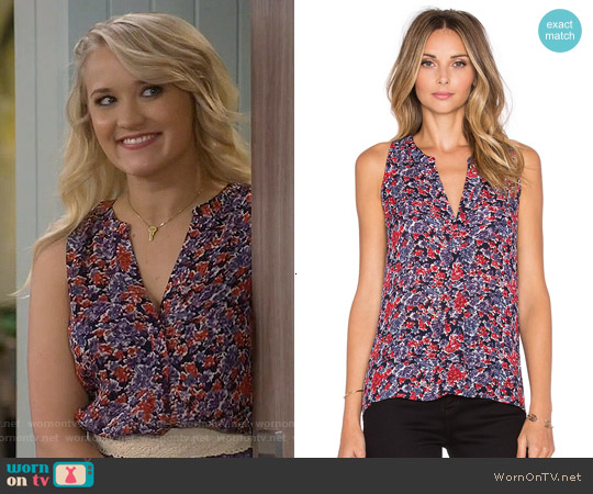 Joie Aruna Top in Dark Navy worn by Emily Osment on Young & Hungry