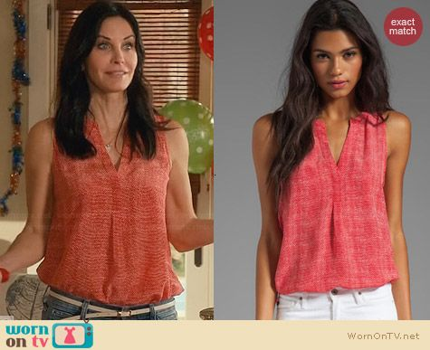Joie Aruna Top in Poppy worn by Courtney Cox on Cougar Town