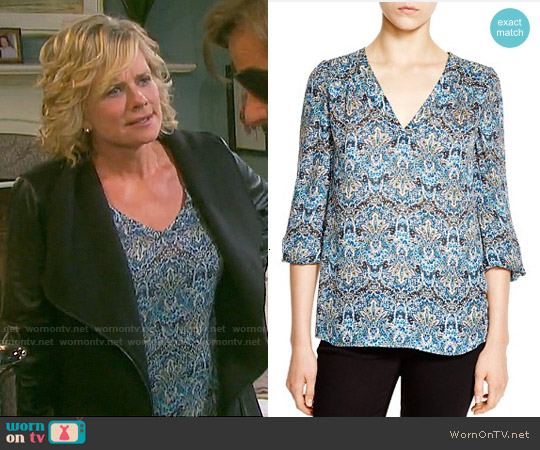 Joie 'Avonmora' Paisley Print Silk Top worn by Mary Beth Evans on Days of our Lives
