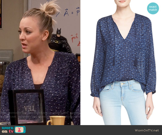 Joie Ayala Smocked Cotton Peasant Top worn by Kaley Cuoco on The Big Bang Theory