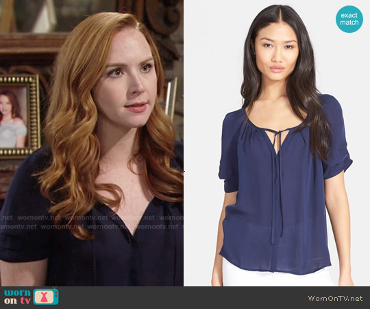 Joie  'Berkeley' Silk Top in Navy worn by Camryn Grimes on The Young & the Restless