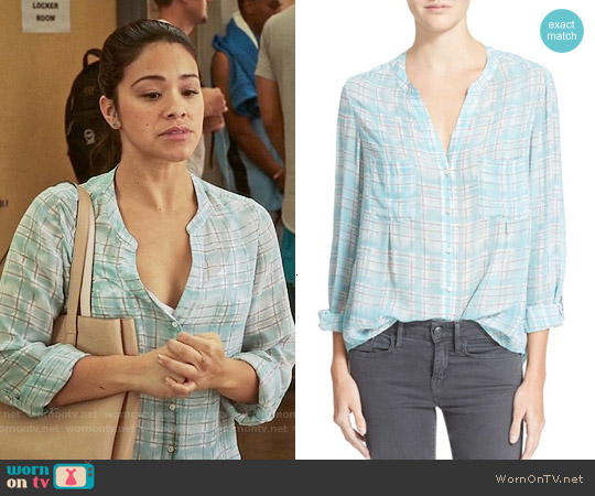 Joie 'Bonilla' Plaid Silk Blouse worn by Gina Rodriguez on Jane the Virgin