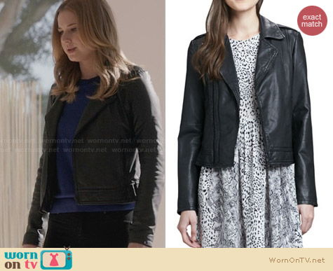 Joie Caldine Leather Jacket in Caviar worn by Emily VanCamp on Revenge