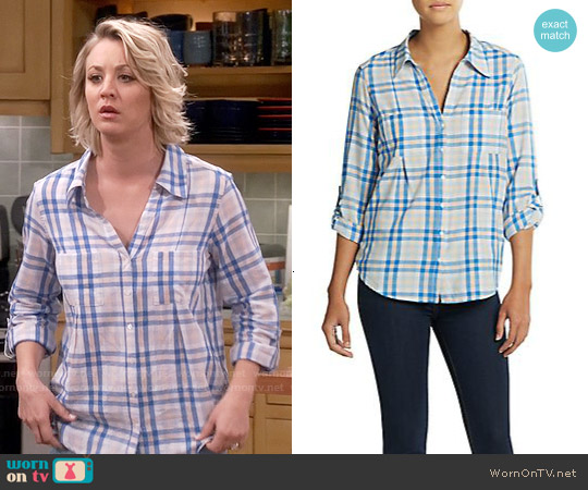 Joie Cartel Plaid Shirt in Oasis worn by Kaley Cuoco on The Big Bang Theory