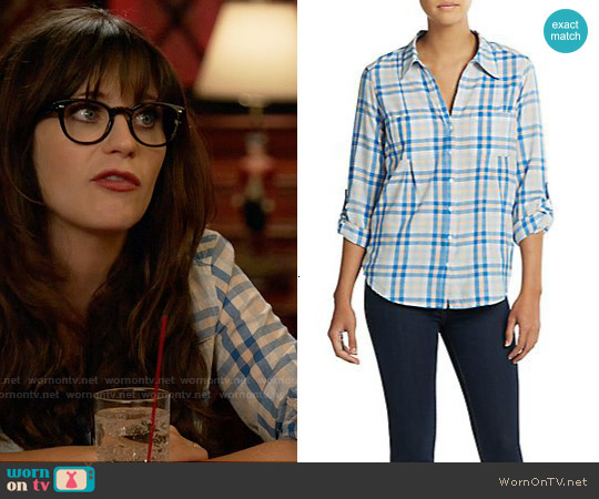 Joie 'Cartel' Plaid Shirt in Oasis worn by Zooey Deschanel on New Girl