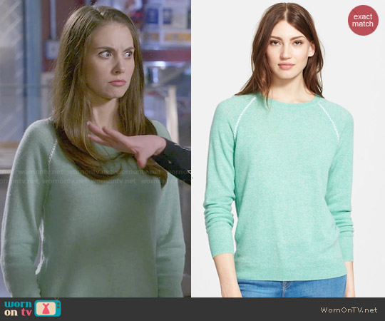 Joie Corey Sweater in Heather Dusty Seagrass worn by Alison Brie on Community