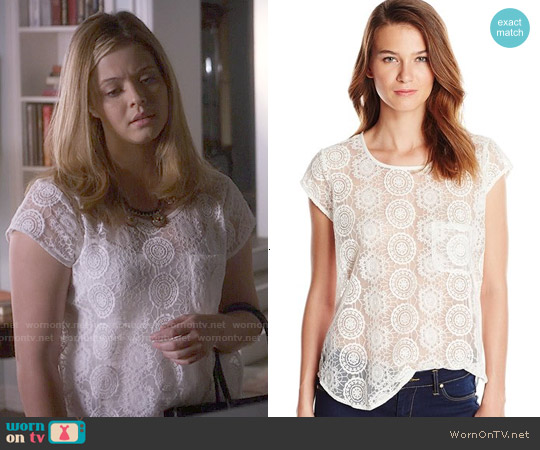 Joie Dalliance Geometric Mesh Blouse worn by Sasha Pieterse on PLL