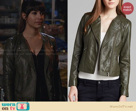 Joie Darnell Leather Jacket in Fatigue worn by Hannah Simone on New Girl