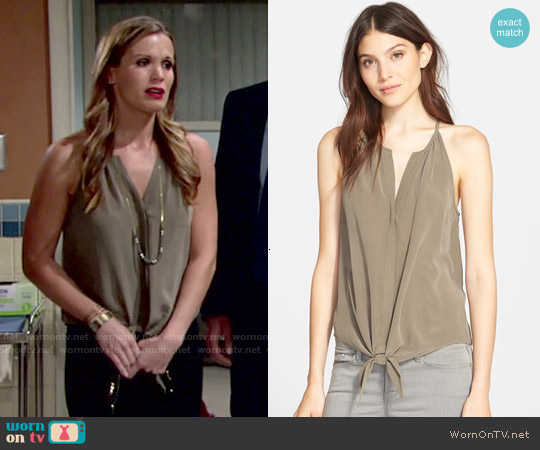 Joie 'Dashiell' Tie Front Silk Top worn by Melissa Claire Egan on The Young & the Restless