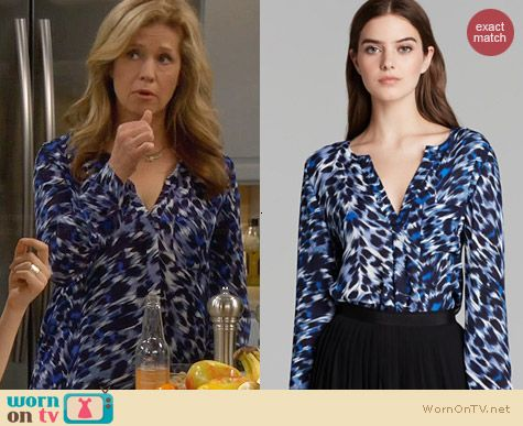 Joie Deon Animal Print Blouse worn by Nancy Travis on Last Man Standing