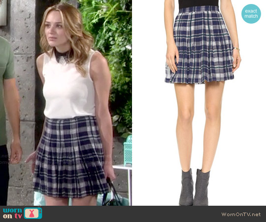 Joie Deron Plaid Skirt worn by Summer Newman on The Young & the Restless