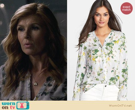 Joie Divitri Blouse in Light Smoke worn by Connie Britton on Nashville
