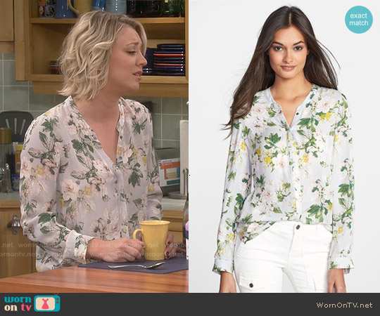 Joie Divitri Blouse in Light Smoke worn by Kaley Cuoco on The Big Bang Theory