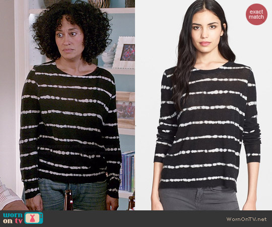 Joie Dorianna Striped Cashmere Top worn by Tracee Ellis Ross on Blackish